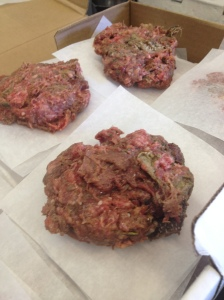 Beautiful beef patties to be brought home for cooked diets; they can be lightly seared or baked.
